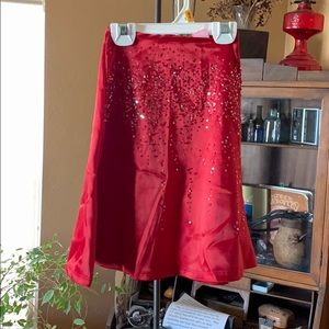Holiday sparkly red boho skirt
